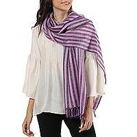 Wool blend shawl, 'Striped Queen in Lilac' - Handwoven Striped Wool Blend Shawl in Lilac from India