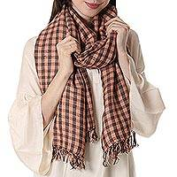 Wool blend shawl, 'Checkered Queen in Orange' - Checkered Wool Blend Shawl in Orange from India