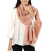 Wool blend shawl, 'Regal Fusion in Orange' - Handwoven Wool Blend Shawl in Peach and Taupe from India