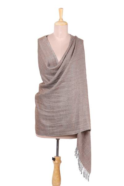 Wool blend shawl, 'Kashmir Delight in Beige' - Handwoven Wool Blend Shawl from India