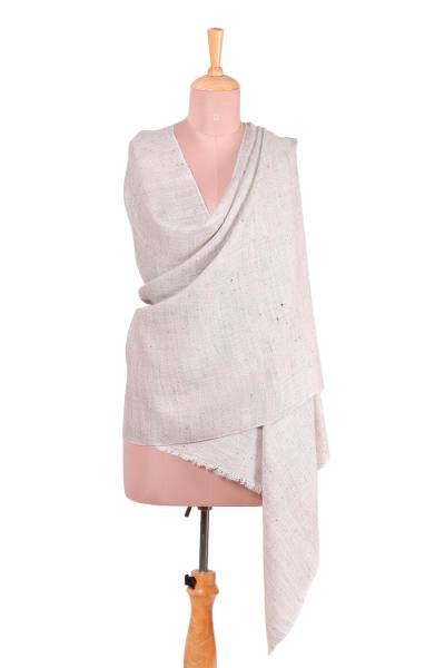 Wool blend shawl, 'Regal Fusion in Beige' - Handwoven Wool Blend Shawl in Khaki and Snow White