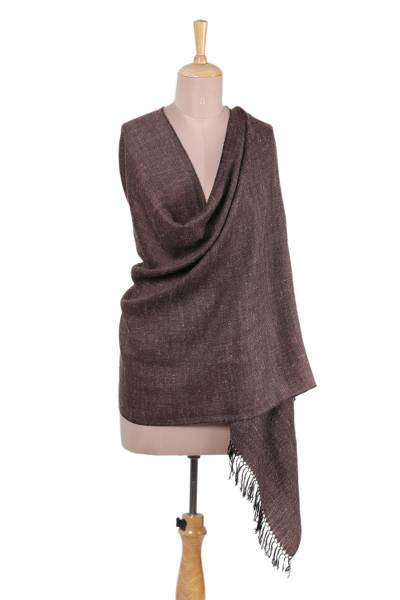 Wool blend shawl, 'Regal Bliss in Burgundy' - Handwoven Wool Shawl in Burgundy from India
