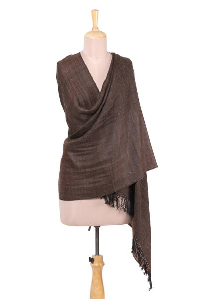 Wool blend shawl, Regal Bliss in Brown