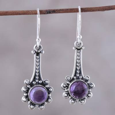 Amethyst dangle earrings, 'Magical Pendulums' - Amethyst and Sterling Silver Dangle Earrings from India