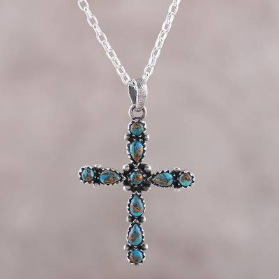 Sterling silver pendant necklace, 'Vibrant Cross' - 925 Sterling Silver and Composite Turquoise Cross Necklace