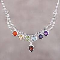 Multi-gemstone pendant necklace, 'Peaceful Crescent' - Handmade Sterling Silver and Multi-Gemstone Chakra Necklace