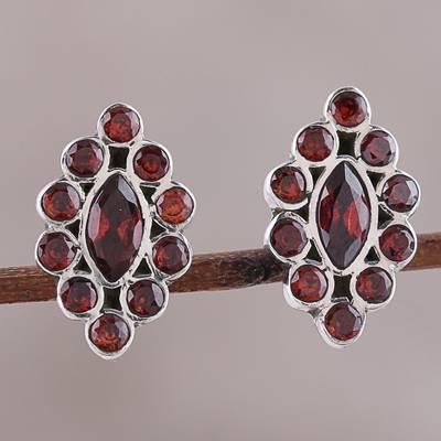 Garnet button earrings, 'Radiant Crimson' - Handcrafted Garnet and Sterling Silver Button Earrings