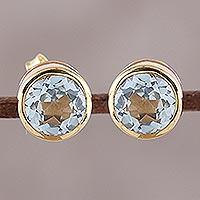 Gold plated blue topaz stud earrings,