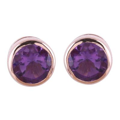 22k Rose Gold Plated Faceted Amethyst Stud Earrings