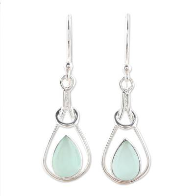 Drop-Shaped Blue Chalcedony Dangle Earrings from India