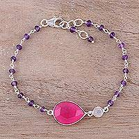 Multi-gemstone pendant bracelet, 'Colorful Elegance in Pink' - Multi-Gemstone Link Pendant Bracelet in Pink from India