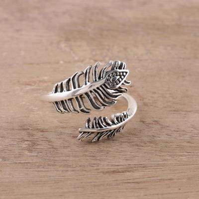Sterling silver wrap ring, 'Feathery Touch' - Sterling Silver Feather Wrap Ring from India