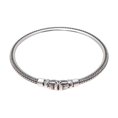 Dot Pattern Elephant Sterling Silver Cuff Bracelet