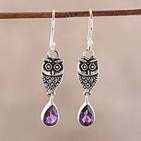 Amethyst dangle earrings, 'Owl Dance' - Amethyst Owl Dangle Earrings from India