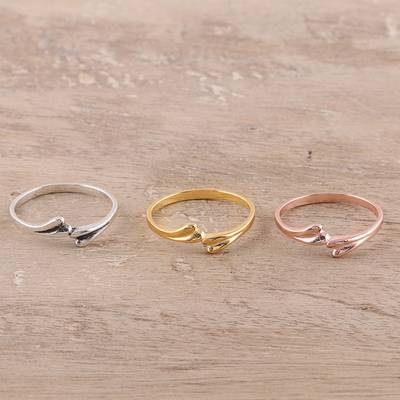 Gold plated, rose gold plated, and sterling silver band rings, 'Dog Bones' (set of 3) - 3 Gold, Rose Gold Plated, and Sterling Silver Band Rings