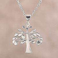 Sterling silver pendant necklace, 'Kalpvriksh Tree' - Sterling Silver Tree Pendant Necklace from India