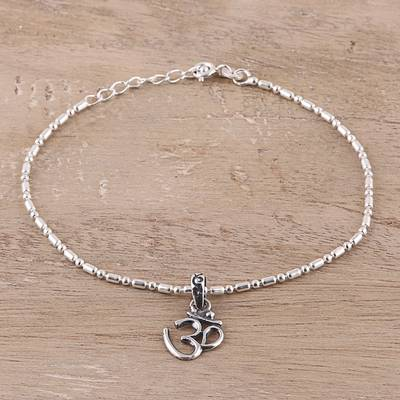 Sterling silver chain bracelet, 'Om Peace' - Sterling Silver Om Charm Bracelet from India