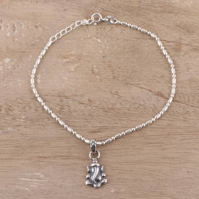Sterling silver chain bracelet, 'Adorable Ganesha' - Sterling Silver Ganesha Chain Bracelet from India