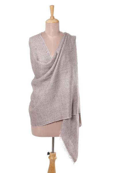 Wool blend shawl, 'Kashmir Classic' - Wool Blend Shawl in Solid Taupe from India