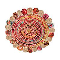 Jute and recycled cotton area rug, 'Rainbow Hoops' (3 feet diameter) - Handcrafted Jute and Recycled Cotton Area Rug (3 Ft. Diam.)