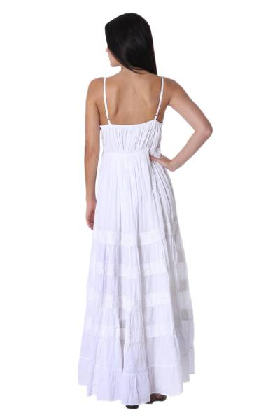 Cotton maxi dress, 'Lucknow Summer' - White Cotton Maxi Dress Handmade in India