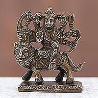 Brass figurine, 'Victorious Durga' - Hindu Deity Durga Astride Lion Brass Figurine from India