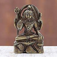 Brass figurine, 'Majestic Shiva' - Hindu Deity Lord Shiva Seated with Trishul Brass Figurine