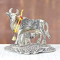 Aluminum figurine, 'Giving Mother in Silver Tone' - Mother Cow and Calf Silver Tone Aluminum Figurine from India