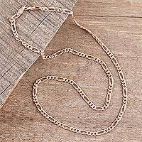 Rose gold plated sterling silver chain necklace, 'Shimmering Flair' (3 mm) - Rose Gold Plated Sterling Silver Chain Necklace (3mm)