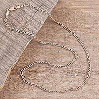 Rose gold plated sterling silver chain necklace, 'Shimmering Flair' (2 mm) - Rose Gold Plated Sterling Silver Chain Necklace (2mm)