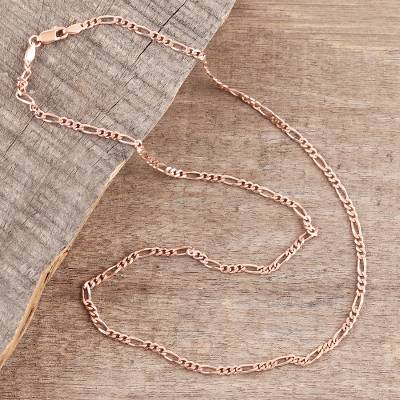 Rose gold plated sterling silver chain necklace, Shimmering Flair (2 mm)