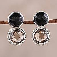 Smoky quartz and onyx drop earrings, 'Twin Glitter' - Smoky Quartz and Onyx Drop Earrings from India