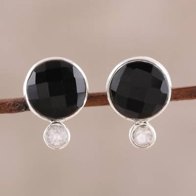 Onyx and rainbow moonstone button earrings, 'Midnight Mist' - Onyx and Rainbow Moonstone Button Earrings from India