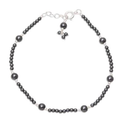 Hematite and Sterling Silver Anklet Crafted in India