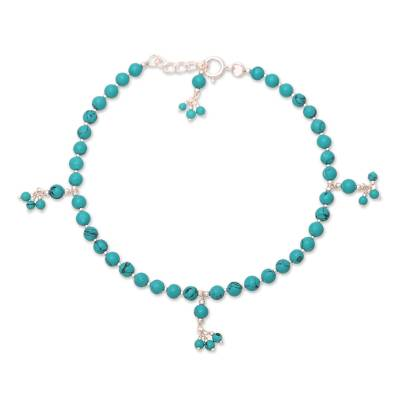 Sterling Silver and Composite Turquoise Beaded Anklet