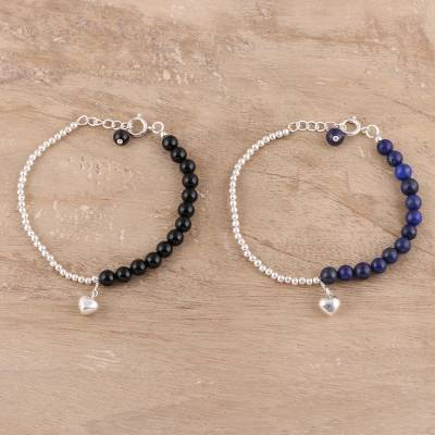 Onyx and lapis lazuli beaded bracelets, 'Midnight Couple' (pair) - Black Onyx and Lapis Lazuli Bracelets from India (Pair)