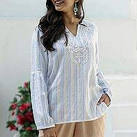 Cotton tunic, 'Cerulean Summer' - Cotton Tunic with Cerulean Stripes from India