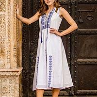 Cotton shift dress, 'Moroccan Glamour' - Cotton Shift Dress with Geometric Lapis Embroidery