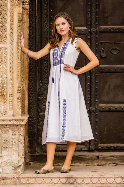 Cotton dress, 'Moroccan Glamour' - Cotton Dress with Geometric Lapis Embroidery