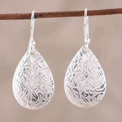 Sterling silver dangle earrings, 'Magnificent Drops' - Floral Sterling Silver Drop Earrings from India