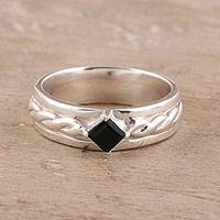 Onyx solitaire ring, 'Sparkling Kite' - Faceted Onyx Solitaire Ring from India