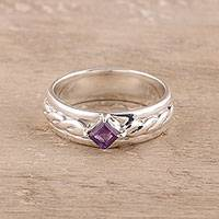 Amethyst solitaire ring, 'Sparkling Kite' - Faceted Amethyst Solitaire Ring from India