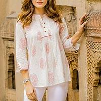Cotton tunic, 'Cerise Elegance' - Printed Cotton Tunic in Cerise and White from India