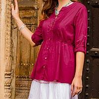 Cotton tunic, 'Cerise Cheer' - Pleated Cotton Tunic in Crimson from India