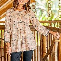 Cotton tunic, 'Natural Connection' - Printed Henley Cotton Tunic from India