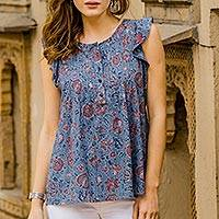 Cotton blouse, 'Garden Bliss' - Floral Printed Cotton Blouse in Cerulean from India