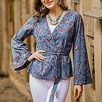 Cotton jacket, 'Garden Bliss' - Floral Printed Cotton Jacket in Cerulean from India