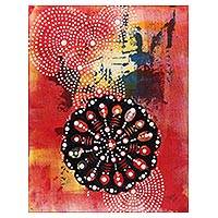 'Ajna Chakra' - Signed Spiritual Chakra Painting in Red from India