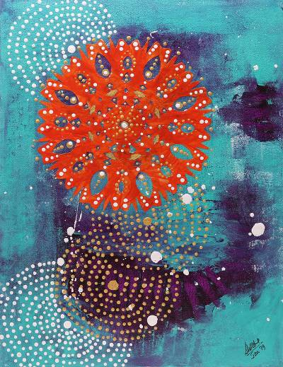 Signed Chakra Painting in Orange and Blue from India