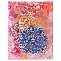 'Vishuddha Chakra' - Signed Chakra Painting in Blue and Pink from India